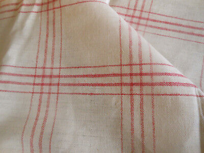 Antique French Windowpane Check Plaid Homespun Loomed Linen Fabric ~  Red Cream
