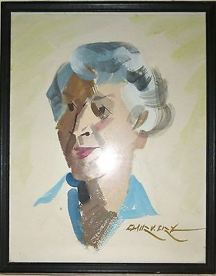 Original Vintage Watercolor Portrait - Listed Artist Clair V. Fry