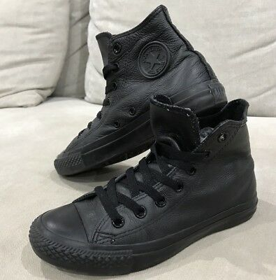 Converse All Star Chuck Taylor High Tops 4 Mens Womens 6 All Black Leather Shoes