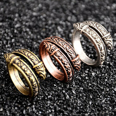 Men's Norse Viking Snake Open Ring Valknut Celtics Odin Adjustable Ring Jewelry