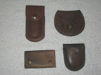 4 X Various Leather Pouches - Pocket Watch - Knife - Tooled - Vintage - Lot