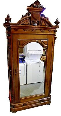 Massive Antique Renaissance Revival Mirrored Single Door Armoire, c. 1870