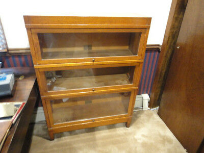 Antique Globe Wernicke Oak 3 Stack Barrister Bookcase