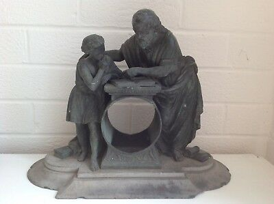 Antique, Bronze  Two Figures,man And ( Student ),  Clock Case, With Base