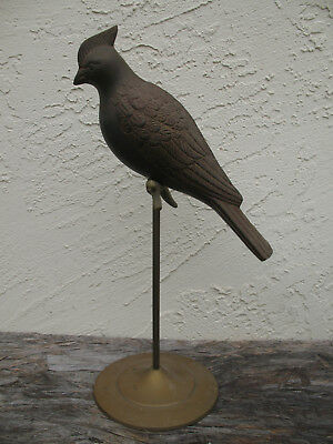 Vintage Brass Parrot Bird on Stand Figurine  14""