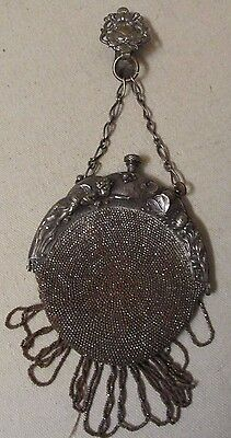 Antique Art Nouveau Chatelaine Steel Beaded Purse With Cherub & Butterfly Frame