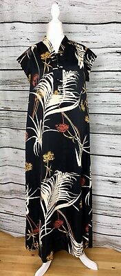 9a39f38be587 Vintage 60s 70s Ja-Na Of Hawaii Dress Mandarin Collar Maxi Shift Print Satin