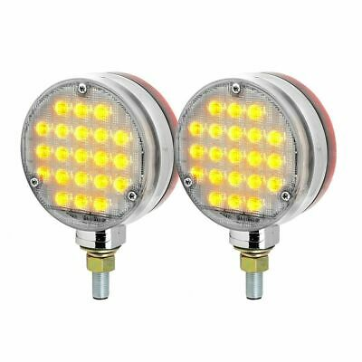 LED lights(2) round clear lens amber/red smart dynamic 2 faced sequence signal