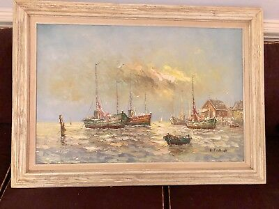 SIGNED W.THOMSON Nautical CANVAS OIL PAINTING Boats @ Harbor WOOD FRAME 24x36 in