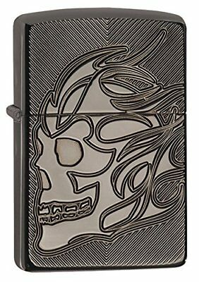 Zippo Armor Black Ice Pocket Lighter Deep Carve Skull #29230