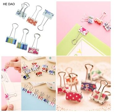 6pcs Small Size 38mm Printed Metal Binder Clips Paper Clip Clamp Office School