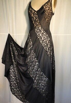 Black vintage Negligee Spiral lace nightgown disco M sexy Sissy pinup 70's sweep