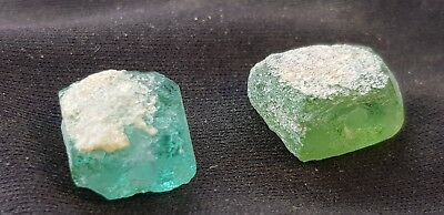 Very rare Beautiful Roman glass beads x 2 very wearable ancient artefact. L76w