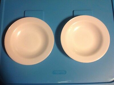 2 Federal Milk Glass Heat Proof Soup Bowls