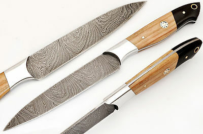 Beautiful Custom Hand Made Damascus Steel Chef Knife Handle Wood Or Bull Horn