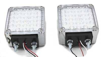 LED lights(2) square clear lens amber/red smart dynamic 2 faced sequence signal