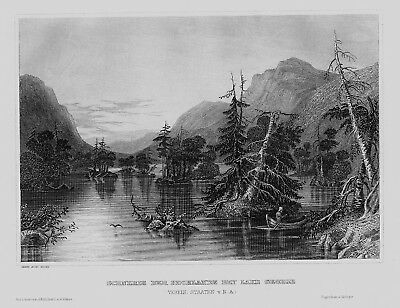 1840 - Lake George Adirondack Mountains New York America engraving Stahlstich