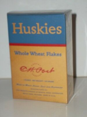 1930s POST HUSKIES WHOLE WHEAT FLAKES CEREAL Sample Ind Size EMPTY Box Gen Foods