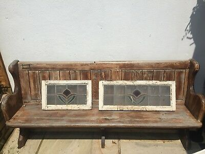 Reclaimed Stained Glass Window In Wooden Frame