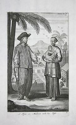 1730 Topassers Indonesia people costume Kupferstich engraving Churchill