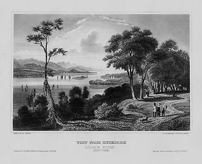 1840 - New York City Hyde Park Hudson River Manhattan etching Stahlstich
