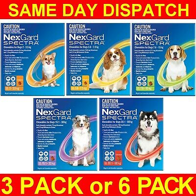 NexGard Spectra For Dogs 3 or 6 Pack All Sizes Orange Yellow Green Purple Red