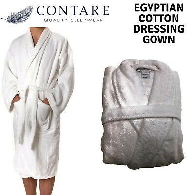 CONTARE 100% Egyptian Cotton Dressing Gown Bath Robe Terry Towelling Supersoft