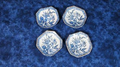 Lot 4 L.S&S Blue Rose Transfer Butter Pats, circa 1884 Registry No. 8844