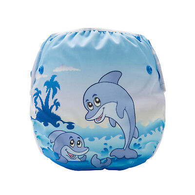 Cute Dolphins Swim Nappy - Baby Cover Reusable Multifit Diaper Pants Swimmers