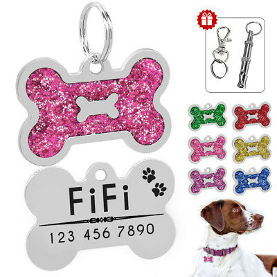 Glitter Bone Shape Personalized Dog Tag Engrave Doggie ID Name FREE Whistle