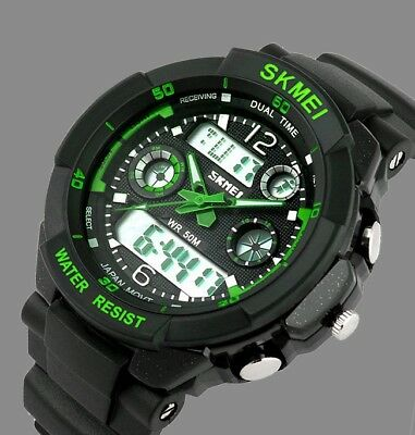 Fashion Men LED Digital Date Alarm Waterproof Rubber Sport Army Watch Wristwatch