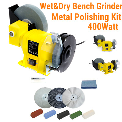 "8""/6"" Wet Dry Bench Grinder 400Watt and 6"" Metal Polishing Kit"