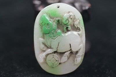 Antique Chinese Hand-carved aristocratic wearing Jadeite jade pendant   A03