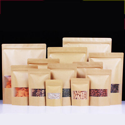 Kraft Paper Foil Bag Stand Up Pouch Zip Lock Resealable Heat Seal Window Display