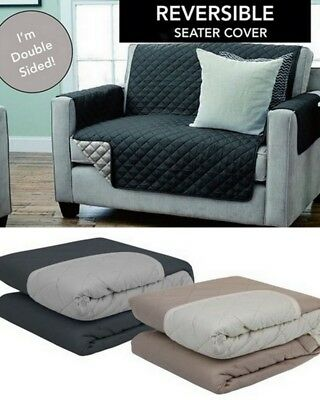 NEW Reversiblle Quilted Sofa Chair Cover Lounge Seater Pet Protector Slip Cover