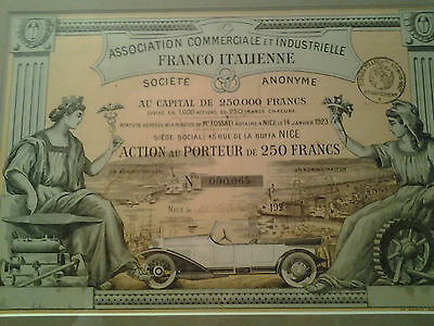 Ass. Comm. et Ind. Franco-Italienne Action 1923, Automobile décorative Oldtimer