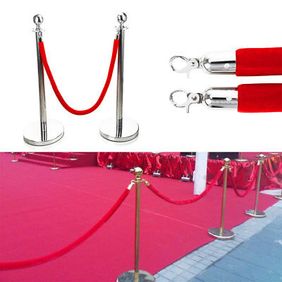 2pc Polished Steel Queue Rope Barrier Velvet Red Rope Stanchion Posts Stands UK