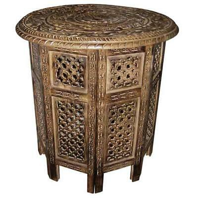 Lamp Telephone End table Mango Wooden Ornate Hand Carved Round Folding Table