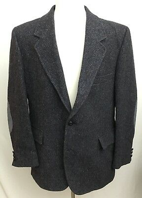 PENDLETON MENS SPORTS Jacket Wool Herringbone Elbow Patch 2
