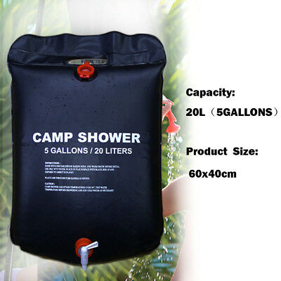 20L Solar Heated Shower Water Bathing Bag Outdoor Camping Hiking Ultralight Bag