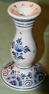Delft Decorative Candlestick Vintage Vibrant Beautiful Piece Look!