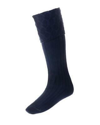 Lewis Cable Knit Navy Merino Wool Kilt Hose Socks Made in Scotland