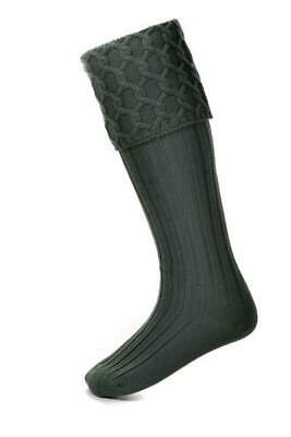 Lewis Cable Knit Charcoal Grey Merino Wool Kilt Hose Socks Made in Scotland
