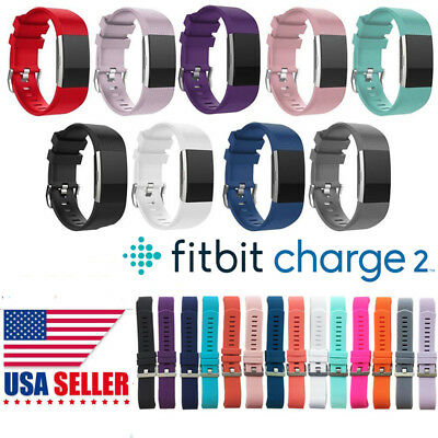 For Fitbit Charge 2 Replacement Band Secure Strap Wristband Metal Buckle HR US