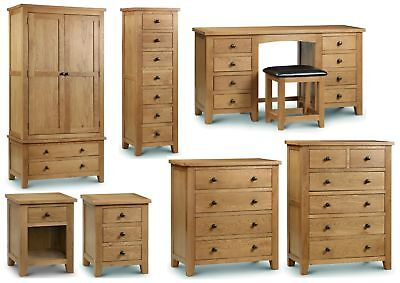 Julian Bowen Marlborough Solid Oak Bedroom Range - Bedsides Drawers Wardrobes