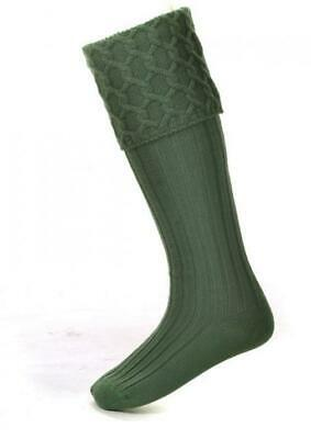 Lewis Cable Knit Ancient Green Merino Wool Kilt Hose Socks Made in Scotland
