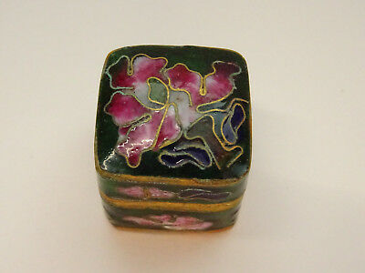 Alte Pillendose Schmuckdose Cloisonne Emaill Pillbox Box Dose Floral Miniatur 1