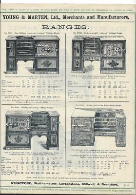 Vintage Architectural Advert ' Young and Marten Stratford ' Cast Iron Ranges.