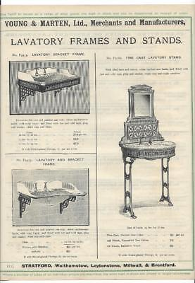 Vintage Architectural Advert 'Young and Marten Stratford'Lavatory Frames Stands.