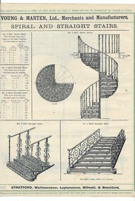 Vintage Architectural Advert 'Young and Marten Stratford 'Spiral/Stairs/ Balcony
